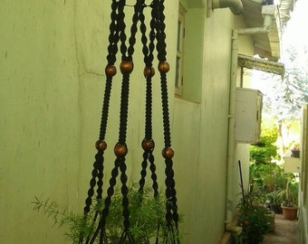 Free shipping - Large black polycord macrame plant/pot hanger / hanging planter retro / vintage style / indoor, outdoor  / 4mm  coloured
