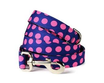The Lilly Dog Leash, Pink Dog Leash, Polka Dot Dog Leash, Female Dog Lead, Designer Dog Leash, Pink And Navy Leash, Navy Dog Leash, Dog Lead