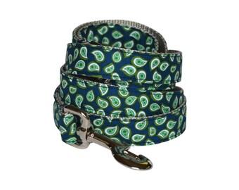Navy And Mint Dog Leash, Paisley Dog Leash, Mint Dog Leash, Preppy Dog Leash, Designer Dog Leash, Modern Dog Leash, Dog Lead