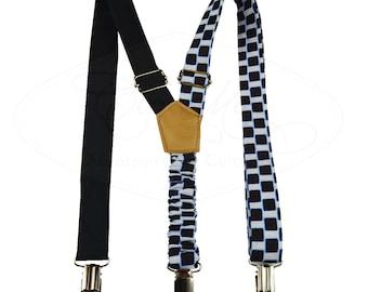 black and white suspenders, fabric suspenders,men's suspenders, wax print suspenders, skinny suspenders,  groomsmen, women suspenders