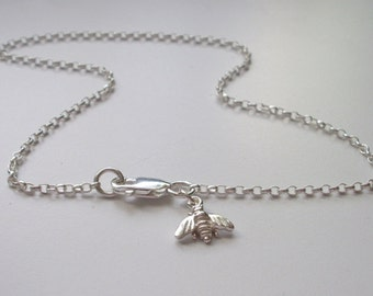 Sterling Silver Anklet, Silver Bee Charm Anklet, Silver Ankle Bracelet, gift for girls, bridesmaid gift, handmade, jewellery for women