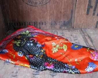 Silk Scarf - 1970s Scarf - Ladies Scarf - Boho Scarf - Hippie Scarf - 1970s Fashion - Vintage Scarf - Vintage Silk Scarf - Floral Scarf