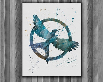 Mockingjay, Hunger Games Instant Download Printable Art Print, watercolor Art Print, watercolor wall art, watercolor home decor
