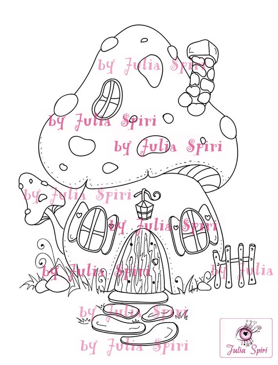 Digital Stamps Digi Stamp Coloring Pages Mushroom House Forest Fantasy Scrapbooking Line Art The