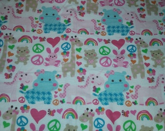 Flannel Double Sided Recieving Blanket - Animal - Bright Colors - Pink - Baby Blanket - Receiving Blanket