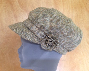 Ladies Newsboys Cap Hat - 100% Tweed Wool - Donegal Tweed Hats - Womens Irish Bakerboy Hats - Newsboy Cap - Plaid Green Herringbone