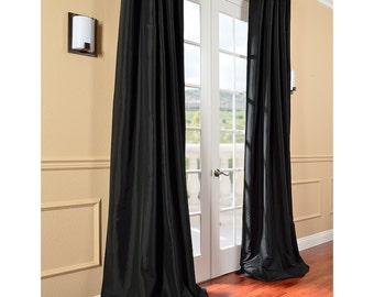 black faux silk curtain panel two panel home drapery
