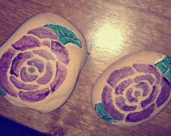 Roses Painted on River Stones