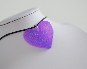 Sparkly Purple Heart Choker