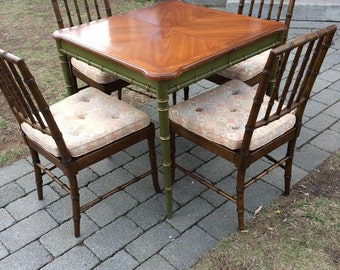 Fabulous Vintage KINDEL Faux Bamboo Dining Table and 4 Matching Chairs