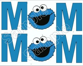 Cookie Monster Mom Sesame Street Iron On T Shirt / Pillowcase Transfer