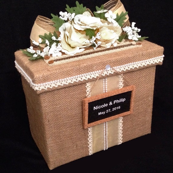Rustic Wedding Gift Card Box : Rustic Wedding Card Box,wedding card box with slot,burlap wedding card ...