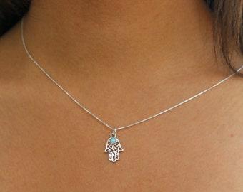 Hamsa necklace, Silver necklace, Hamsa opal necklacel, Silver hamsa necklace, Dainty necklace, Hand made, Celtic necklace, Opal necklace