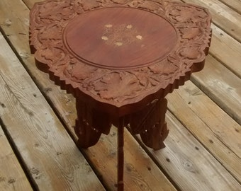 Vintage Carved Teak Table with Brass Inlay Folding Table  Plant Stand India 2pc