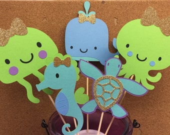 6 pcs Under the Sea Centerpieces,Under the Sea Party, Under the Sea Decor, Under the Sea Birthday, Mermaid Birthday, Ocean Birthday