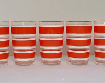 Seven Vintage Hazel Atlas Striped Juice Glasses - Set of 7 -  Red and White Stripe Tumblers - Drinking Glasses