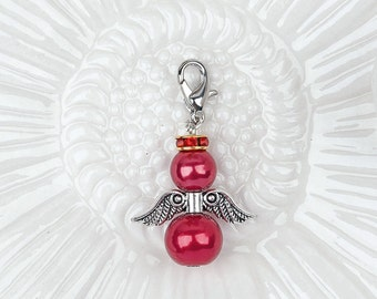 Charms - Guardian Angel Charm - 3 or 6 Red Assembled Angel Charms - Bead Charm - Cute Charms - Bead Angel - Charms For Jewelry - CH-S004
