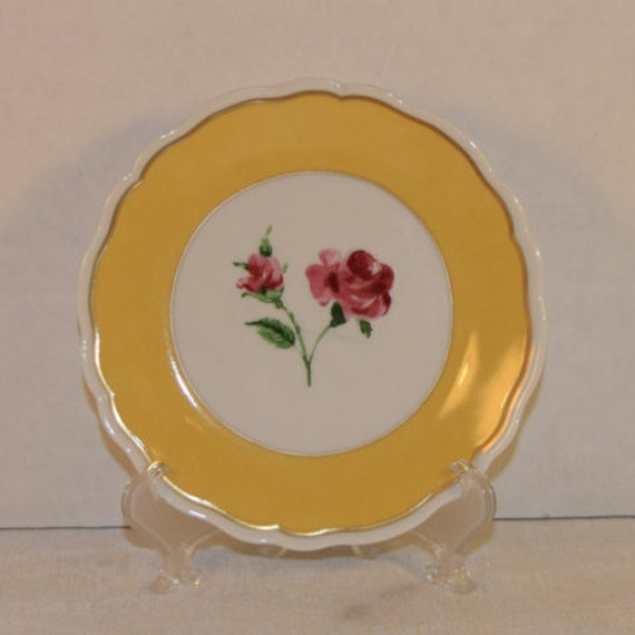 Limoges yellow canape plate vintage philippe deshoulieres for Philippe deshoulieres canape plates