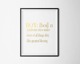 REAL GOLD FOIL Boy Meaning funny/customise your own Foil Print-Wall Art Print Gold Foil