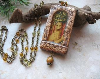 Lion pendant, Medieval Art, Gothic window, Amulet Necklace
