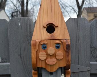 Female Gnome Birdhouse with Flush Mount Hardware / Gnome Cedar Birdhouse  / Face Birdhouse / Wood Birdhouse / Yard Decor