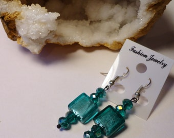 Teal square glass dangle earrings beads Handmade USA