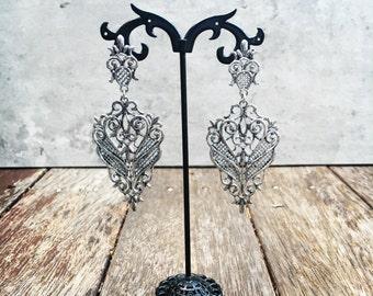 Silver Earrings, Silver Drop Earrings, Silver Dangle Earrings, Silver Statement Earrings, Lace Earrings, Lace Vintage Earrings