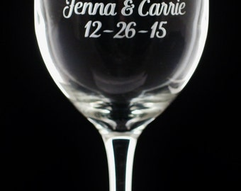 Hers and Hers - Mrs and Mrs - LGBT Personalized Wedding Rings Wine Glasses | Gay Marriage Wine Glasses | Hers and Hers Wine Glasses