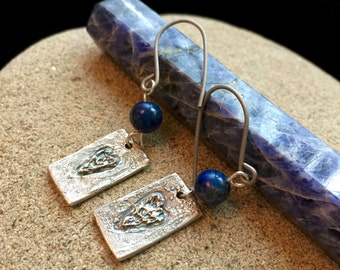 Fine Silver Earrings With Roughed Hearts & Sodalite Beads