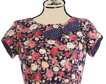 Floral tea dress, retro, vintage style, 1960s, wedding, party, event, navy, cotton