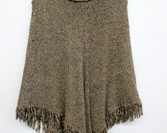 Vintage Pria Sweater Knit Poncho Brown and Black Women's Size M