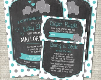 Elephant Baby Shower Invitation, Elephant Invitation, Elephant, Teal, Gray, Polka Dots, Hearts | Printable