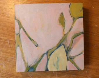 Pink Leaf Abstract Oil Painting