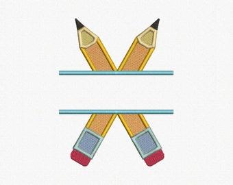 Split Pencils Applique Machine Embroidery Design - 2 Sizes