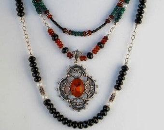 Amber Garnet Emerald Necklace