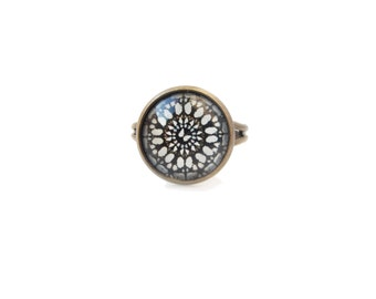 White and black - adjustable ring, 12mm glass dome photo cabochon, bezel ring, statement ring, two color ring, image ring