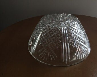 Vintage Clear Pressed Glass Serving Bowl Diamond Pinapple BlockFan Covetro Italy
