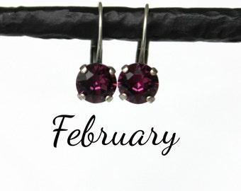 February Birthstone Drop Earrings - 8mm Purple Amethyst Swarovski Crystal Earrings