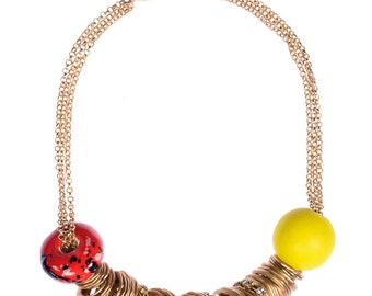 Gold Rings (Gold, Yellow, Red) Chunky Beaded Necklace