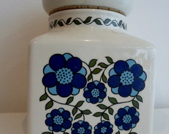 Large Taunton Vale blue and white flower power kitchen storage jar 1970s