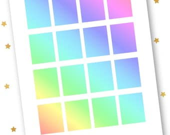 Rainbow Gradient Full Boxes PRINTABLE Planner Stickers