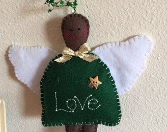 Love Angel Ornament in Felt