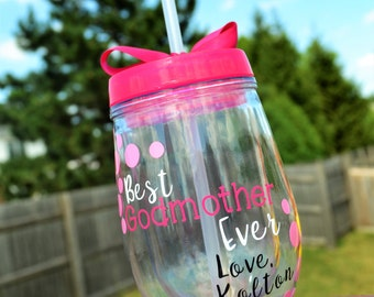 GODMOTHER Gift // Godmother Wine Tumbler // with godchild's name // Best Godmother Ever // Gift for Godmother // Custom Colors Available