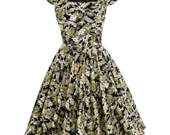 Holiday Dress Tropical Dress Hawaiian Dress Island Dress Tiki Dress Floral Dress Plus Size Dress Pin Up Dress 50s Dress Vintage Style Dress