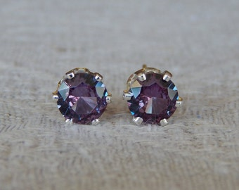 Alexandrite 6mm Studs,  Alexandrite Sterling Silver Stud Earrings, Color Change Alexandrite Posts, June Birthstone, Lab Created Alexandrite
