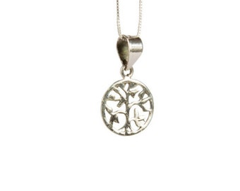 Sterling Silver Dainty Tree of Life Pendant Necklace Spiritual Jewellery Handmade Free UK delivery