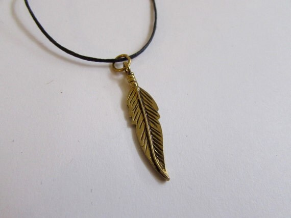 Feather Pendant On Wax Cord Adjustable Unisex Free UK Shipping + Gift Bag