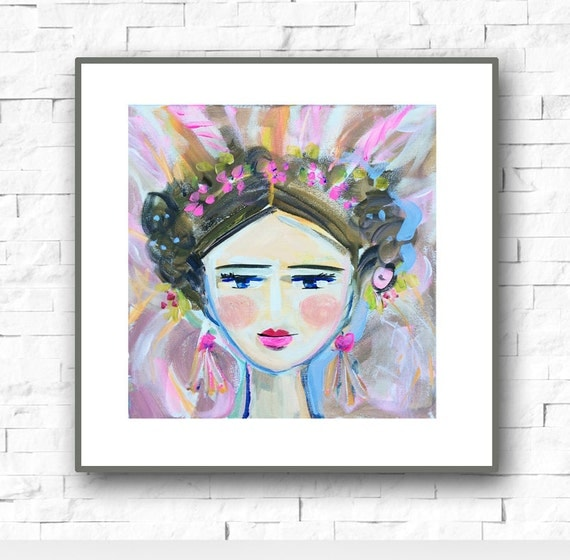 Warrior Girl Print woman art impressionist modern abstract girl print on paper or canvas