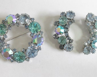 Karu Arke Inc Blue Aurora Borealis Aquamarine Rhinestone Brooch and Earring Set- SALE