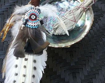 Deluxe ABALONE Shell White SAGE SMUDGE Kit on Tripod With Native American Handmade Smudger
